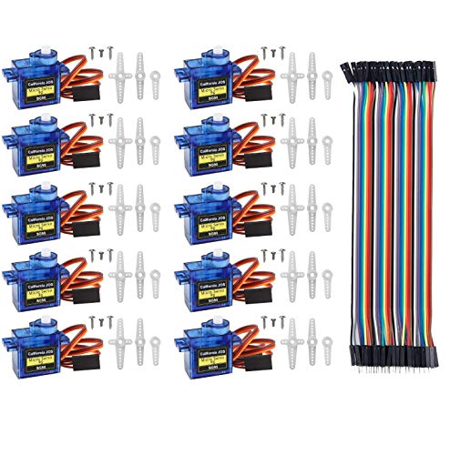 JOS 10 Pcs SG90 9G Micro Servo Motor Kit for RC Robot Arm/Hand/Walking Helicopter Airplane Car Boat Control with Cable, Mini Servos Arduino Project (Bundle 4)