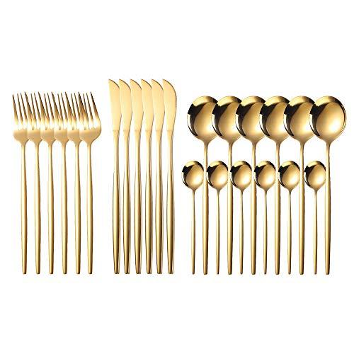 NIBESSER Juegos de cubiertos, 24 piezas Juego de cubiertos de acero inoxidable para 6 personas Cuchillo de carne y Cuchara de tenedor Cucharadita