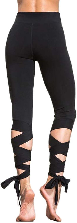 Fashionmy Women's Wrapped Yoga Pants Fitness Pant Dance Ballet Tie Tight Cropped Trousers Capri Pants Calf Criss Cross