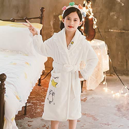 Albornoz Bata para Mujer Llegada cumpleaños traje de la muchacha del invierno caliente franela pijamas for niños princesa de las muchachas Homwear blanca de dibujos animados lindo 4-12Yrs Salto de Cam