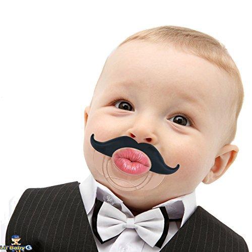 BabyStache Kissable Baby Pacifier. Kissable Barber Black