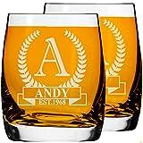 2 Pcs. Vaso de Whisky Personalizado Grabado Juego de 2, Vaso de Whisky Tamaño 250ml