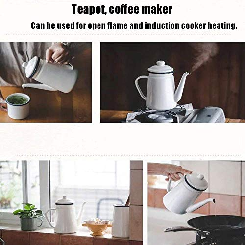 AYHa Smalto Caffè Teiera Superficie ispessimento fatta a mano Pentola per olio Qualità di piombo Utensili da cucina Stoviglie Facile da usare Sano caffé Urna,bianca