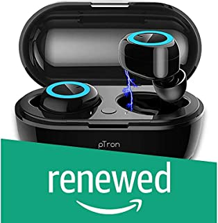 (Renewed) PTron Bassbuds True Wireless Earbuds (TWS), Bluetooth 5.0, Hi-Fi Sound, 4 Hours Music Time, 10-Meter Range Earbuds, 50mAh*2 Battery, Portable 250mAh Charging Box, Handsfree Wireless Earphones (Black)