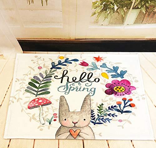 GjbCDWGLA anti-slip badmat deurmat, aquarel krans konijn wasbare badmatten, zachte microvezel douchegordijn 50 * 80 cm