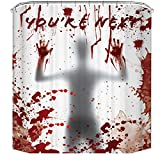 Biubee Halloween Shower Curtain- Horror Ghost with Bloody Handprint Waterproof Bath Curtain Liner Window Curtains with Hooks for Halloween Decorations Bathroom Decor Props (59 × 70 inches)