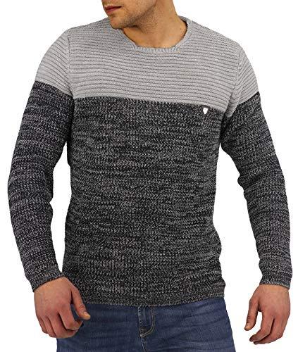 CRSM Karl's People Herren-Strickpullover Streetwear Menswear Autumn/Winter Knit Knitwear Sweater Karl's People Carisma Fashion K-114 (XXL, Grey-Navy)