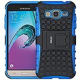 Galaxy J3 (2016) Funda,Fetrim Proteccion Cáscara Cases Delgada de Golpes Doble Capa de Tough Armor Anti-Shock de Soporte de Protectora para Samsung Galaxy J3 (2016) (Azul)