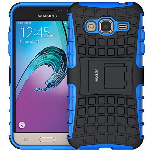 Galaxy J3 (2016) Hülle, Fetrim Schlank Handyhülle Schutzhülle Stoßfest Schutz TPU Doppelstruktur Fall Harte Rüstung Cover case Schale für Samsung Galaxy J3 (2016) mit Ständer (Blau)