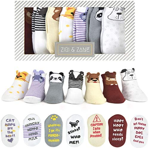 Baby Socks Gift Set Newborn Baby Gifts for Boys Girls 7 Unique Pairs Cute Funny Gender Neutral product image