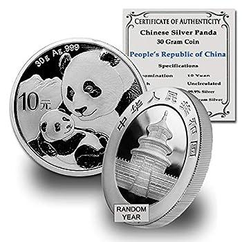 2016 CN - Present  Random Year  30 Gram Chinese Silver Panda by CoinFolio w/COA 10 Yuan BU