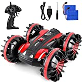 ROOYA BABY Remote Control Car, 360 Degree Rotates Amphibious RC Car Boat,2.4Ghz 4WD Off Road RC Trucks with Two Rechargeable Batteries, Electric Toy Car for 7 16 Year Old Boys Girls Birthday Gift Red
