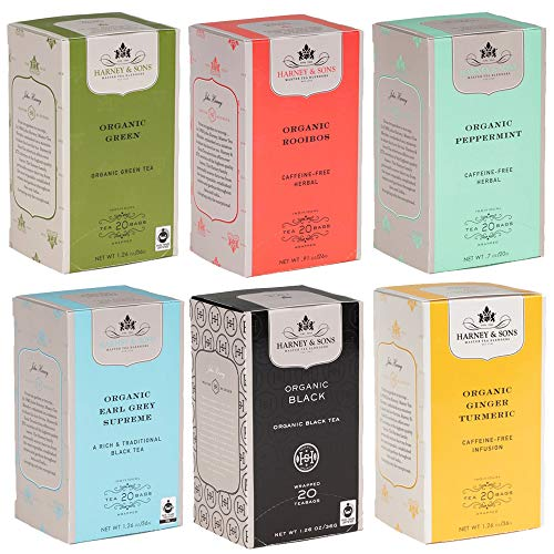 Harney & Sons Assortment Teabags in Foil, Individual Variety Pack, Organic Tea, 120 Count