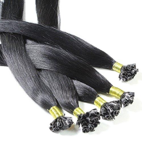 Just Beautiful Hair and Cosmetics Lot de 200 Extensions en cheveux naturels Remy 1 G 60 cm avec kératine