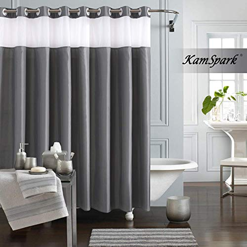 KAMSPARK Hookless Shower Curtain, Grey Shower Curtains for Bathroom, See Through Top Fabirc Shower Curtain Ringless 71x 71 Inches
