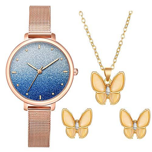EVANA Reloj de Mujer con Correa de Malla Cuarzo Casual de Negocios Acero Inoxidable Negocios con Collar Pendientes Joyería para Mujer Regalo (Azul)