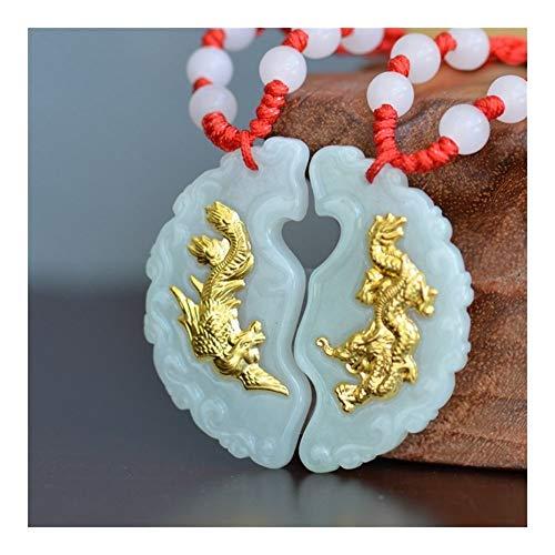 AdorabFruit Présent Pendentif Y Los Amantes del Collar De Phoenix Dragón De Jade Colgante De Jade Buena Suerte Pareja Mejores Regalos De Los Colgantes For Hombres Mujeres (Color : Y HK602)