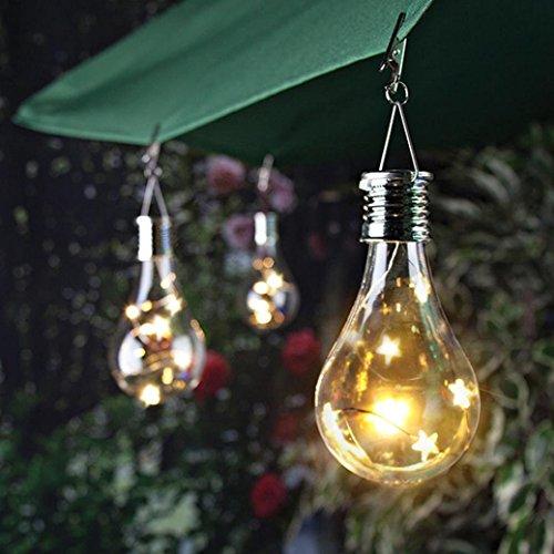sunnymi Hochwertige Bunt/Warmes Licht Solar Kupferbirne Hängen Wasserdicht Drehbar Outdoor Garten Camping LED Glühbirne (Warmes Licht, 7.5 * 15cm)