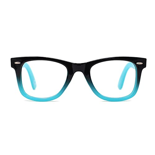 2a588810b0b TIJN Safety Eyewear Cute Blue Square Eyeglasses Glasses with Clear Lens for Kids  Boys Girls