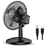 EasyAcc Battery Table Fan, 5200mAh Battery Oscillating Fan 6-16H USB Desk Fan 3 Speeds Enhanced Airflow Portable Fan with Adjustable Head Personal Cooling Fan for Travel Camping Office BBQ Hurricane