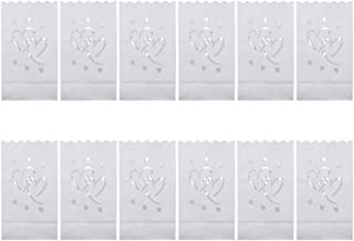 30pcs Hollow Out Paper Luminary Bags Handmade DIY Lantern Candle Tea Light Bag Romantic Decor for Bedroom Wedding Party (Double Hearts)