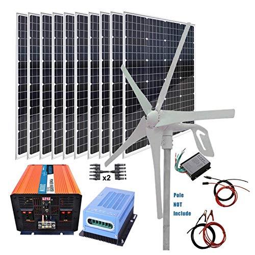 Turbina de Viento, Turbina Panel solar 1400W Kit generador de viento: 10...