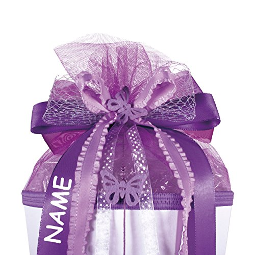 alles-meine.de GmbH große 3-D Schleife - incl. Name / Text - 24 cm breit u. 54 cm lang - mit Schmetterling lila violett - für Geschenke und Schultüten