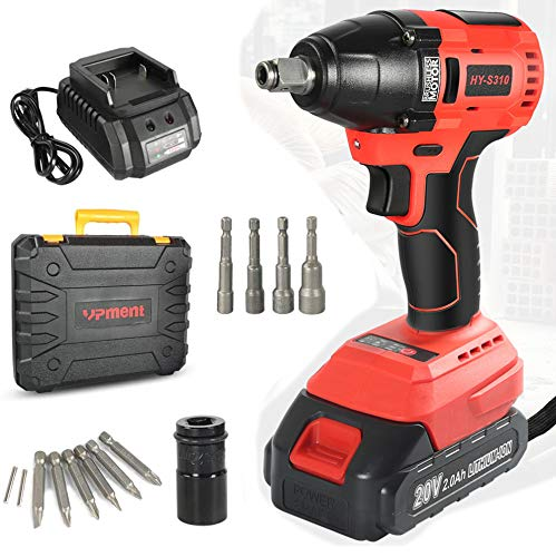 "Impact Driver 20V 2.0Ah Brushless Cordless Impact Wrench Kit, with Lithium-ion Battery/Charger,320N.M Torque, 1/2"" Keyless Chuck,Variable Speed & LED for Automotive Repair"