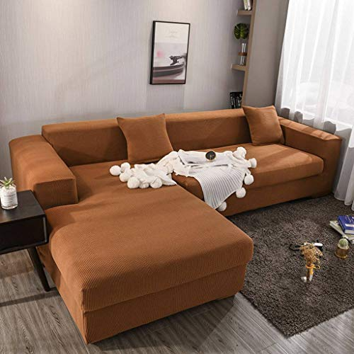 Stretch Sofa Slipcover, Thick Soft Non Slip Elastic Couch Cover Full Cover L Shape Sofa Cover Suitable for Living Room Kids Pets-Yellow-Brown-3 Seat 190-230cm