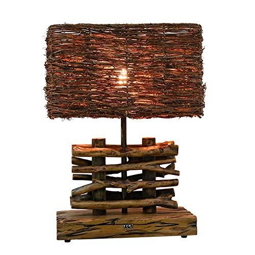 JUYOU Lámpara de Mesa de Madera Maciza Arte Decoración Rattan Lámpara de Escritorio Creativa Europea Dormitorio Cabecera de la Habitación Bamp; B Iluminación lámpara de mesa de cerámica china