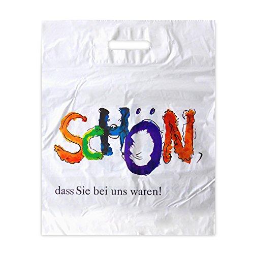 500x Plastiktüten 38 x 45 + 2x5, weiss - Motiv: Schön, dass Sie bei uns waren! | geklebtes Verstärkungsblatt | Plastiktasche in 38x45+2x5 cm | HUTNER