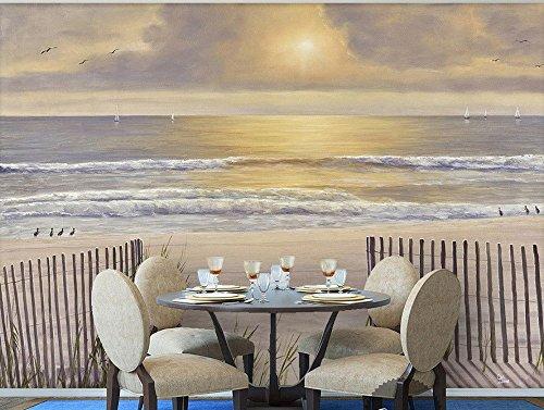 Yosot Aangepaste 3D Behang voor Kamer Zon Blootstelling Wit Sandy Beach Hout Hek Zee Uitzicht Landschap Schilderen Foto 3D Behang 350cmx245cm