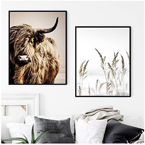 Wandkunst Leinwand Malerei Weizen Pflanze Nordic Highland Kuh Alpaka Poster Und Drucke Landschaft Wandbilder Für Wohnzimmer Decor-60x80 cm Kein Rahmen