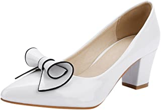 Womens Chic Bow Pointed-Toe Mid Heel Chunky Dress Pumps