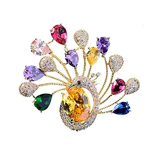Broche de paon coloré pour femmes broches broches bijoux de luxe 2021 vêtements écharpe boucle vêtement accessoires bijoux cadeau