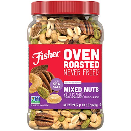 Fisher Snack Oven Roasted Never Fried, Mixed Nuts with Peanuts, 24oz (Pack of 1) Peanuts, Almonds, Cashews, Pistachios, Pecans, Made With Sea Salt