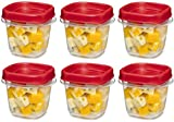 Rubbermaid 781147333731 Easy Find Square 1/2-Cup Food Storage Container, 6 Pack, (6 Cups), Clear with Red Lid