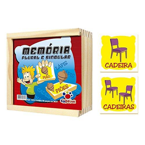 Memória Plural e Singular, 40 Peças em Madeira, A Partir de 4 Anos, Embalagem Caixa de Madeira Ciabrink