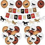 Latocos Decoración de Fiesta Cumpleaños de Caballo Fieltro de Pancarta Feliz Cumpleaños y Guirnalda Banner, 30 Globos de Látex Caballo para Niños Niñas Vaquera Occidental Decoración Suministros