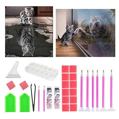 INSANYJ 5D Diamond Painting Full Set, 2 Stück Diamant Painting Bilder mit Werkzeuge, 5D Diamant Painting Kreuzstich für Kinder und Erwachsene, Katze, für Home Wall Décor