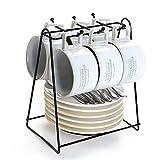 KGWSWE Set da tè pomeridiano europeo in porcellana di ossa minimalista tazza da caffè in ceramica con disco lucido portabicchieri set 6 tazze (Colore: Set (forno che girano bianco))
