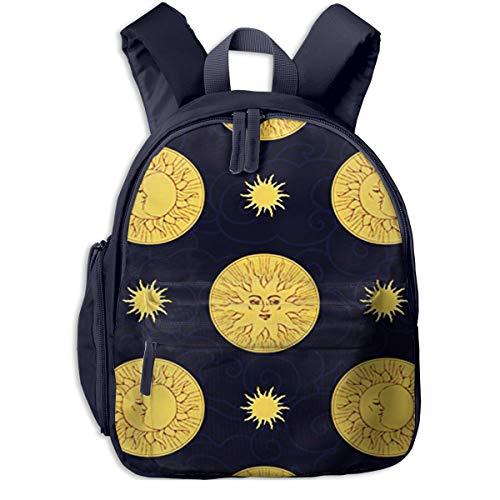 Mochilas Infantiles, Bolsa Mochila Niño Mochila Bebe Guarderia Mochila Escolar con Luna Sol Oscuro para Niños De 3 A 6 Años De Edad