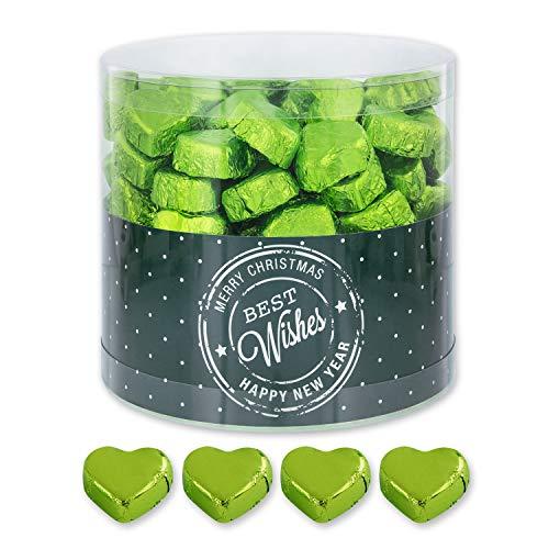 Günthart 150 Stück grün Schokoladen Herzen mit Nougatfüllung | Nougatcreme Kaffeehaus | Schokoladenherzen grün Best Wishes | Give away | grüne Herzen aus Schokolade | Best Wishes (1,2 kg)