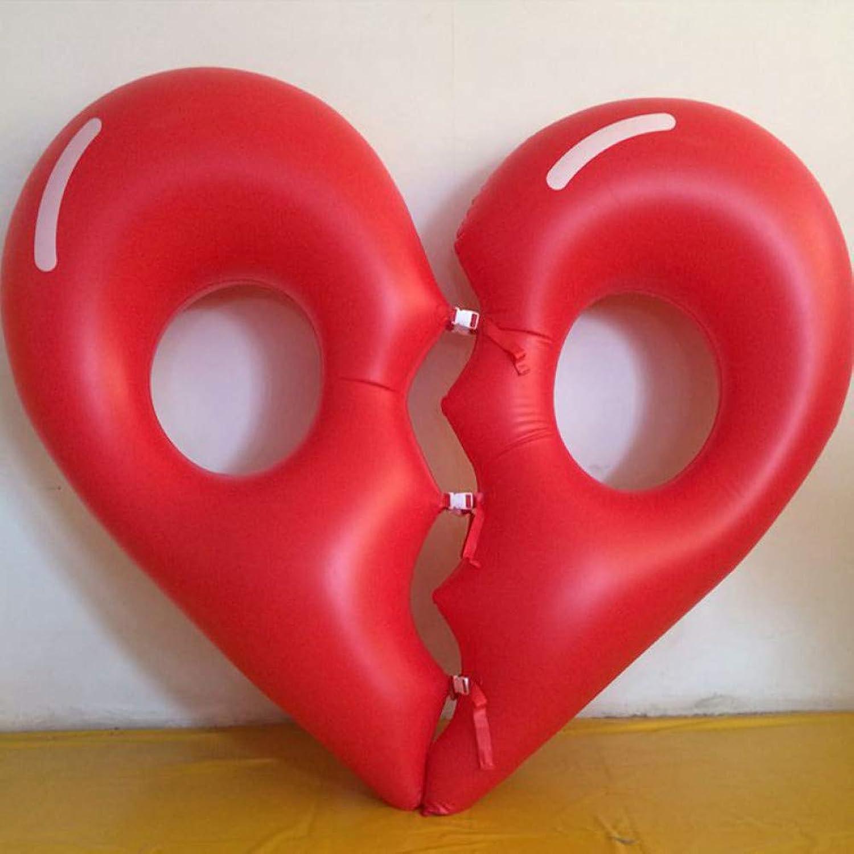 YOUYONGQUAN 180Cm Aufblasbare Rote Liebe Herz-Gebrochene Doppelte Herzpool-Hin- Und Herbewegung Schwimmringkreis LuftmatratzeFür Kindererwachsene Strandparty