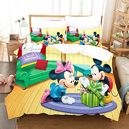 ZJJIAM Mickey Mouse - Ropa de cama infantil con impresión 3D de Mickey y Minnie, funda nórdica doble (3,220 x 240 cm + 80 x 80 cm)