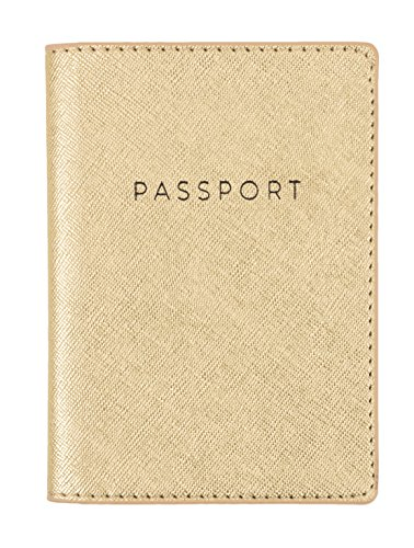 Eccolo Travel Passport Faux Leather Cover Case with Storage Pocket (Gold Shimmer)