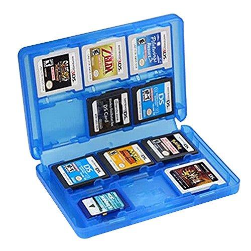 SOONSOP 3DS - Funda para Juegos de 3DS (22 Juegos y 2 Tarjetas SD, Compatible con 3DSll, 3DS, 3DS XL, Juegos DS, 2DS, 3DS, DSi XL y DS), Color Azul translúcido