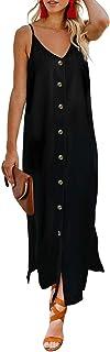 AlvaQ Women Summer Spaghetti Strap Button Down V Neck Sleeveless Casual Long Maxi Dress