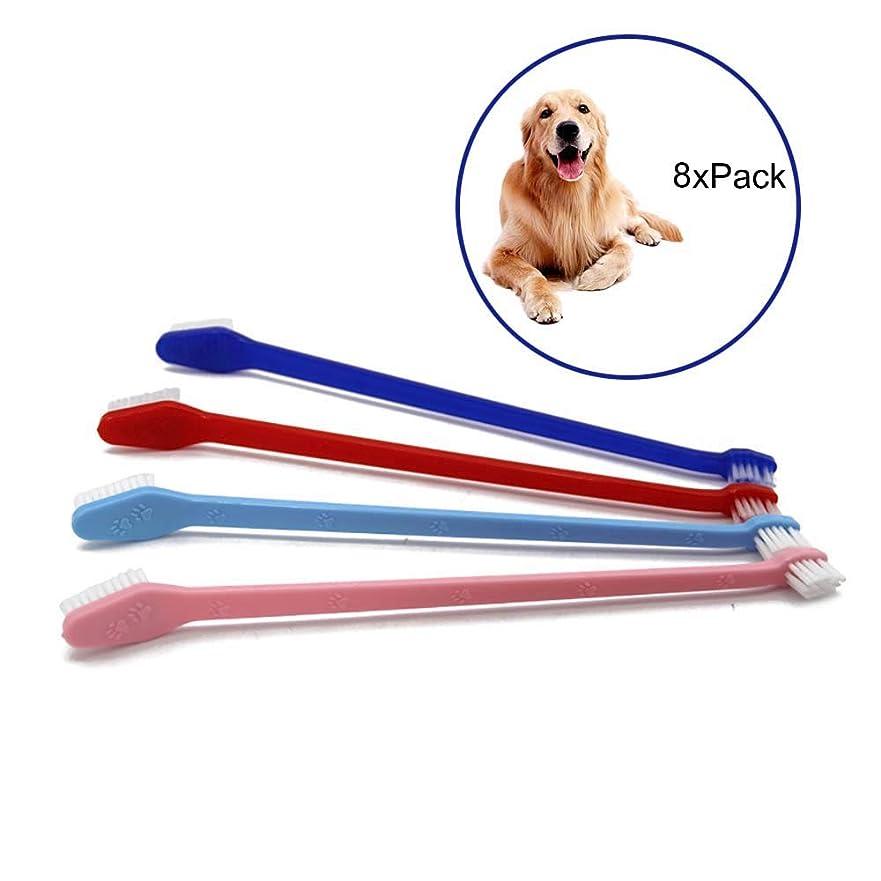 一月接辞ほこり犬歯ブラシ,ダブルヘッドハンドルペットプロの歯ブラシと猫の歯ブラシ、最も効果的な歯ブラシクリーニング(ランダムカラー)