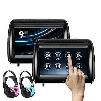 XTRONS 2 x 9 Inch Pair Car Headrest DVD Player HD Digital Adjustable Touch Screen 1080P Video Auto Games HDMI Children IR Headphones Blue&Pink